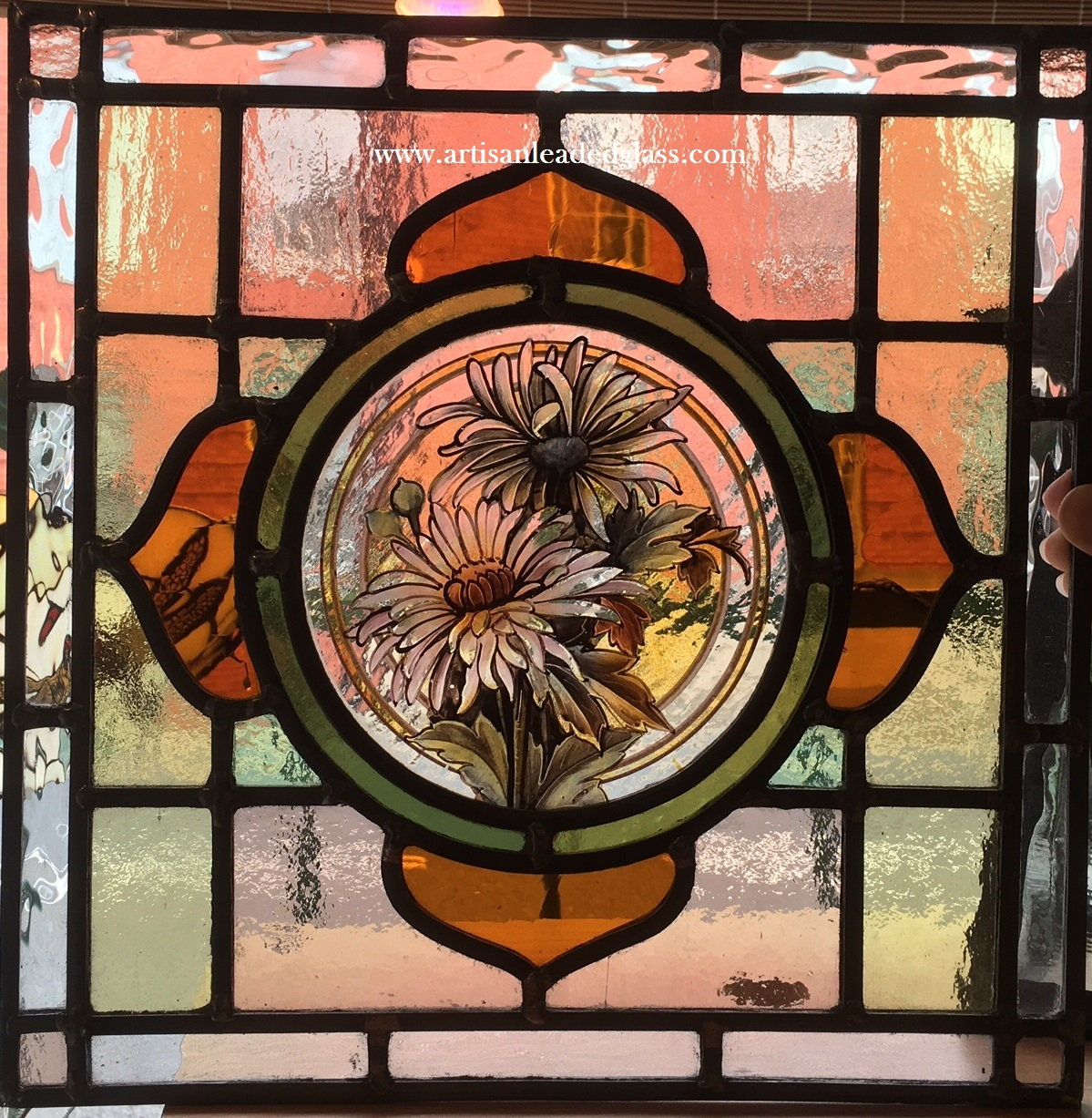 Although Not An Antique This Window Is A Nicely Designed And Made Traditional Stained Glass Featuring Saxophone Keyboard Cymbals With Rich